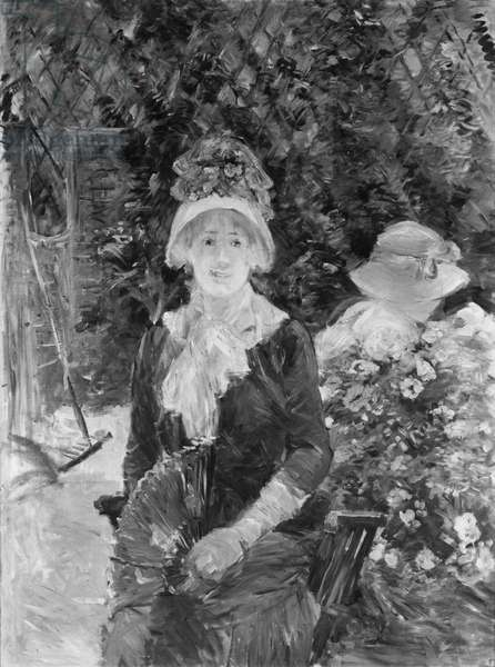 Young Woman in a Garden, 1883 (oil on canvas) (b/w photo)