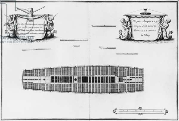 Plan of the third deck of a vessel, illustration from the 'Atlas de Colbert', plate 30 (pencil & w/c on paper) (b/w photo)