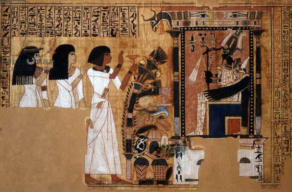 Book of the Dead of the scribe Nebqed, detail of the deceased before Osiris, New Kingdom, c.1400 BC (papyrus)