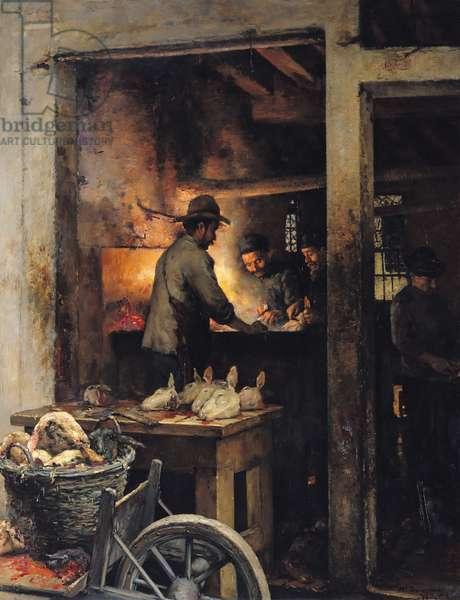 The Tripe Butchers of the Calle de la Madone, Venice, 1900 (oil on canvas)