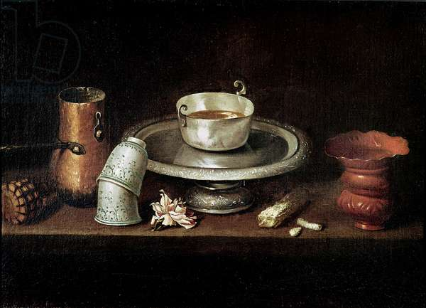 Still Life with a Bowl of Chocolate, or Breakfast with Chocolate, c.1640 (oil on canvas)