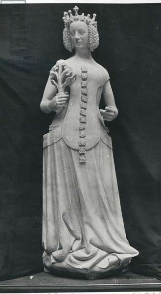 Copy of a statue of Isabella of Bavaria (1371-1435) (stone) (b/w photo)