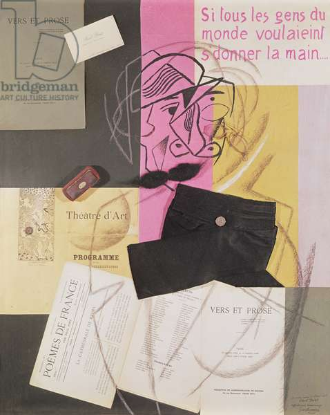 Portrait of Paul Fort, 1915 (gouache & mixed media collage on paper)
