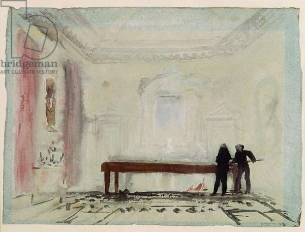 Billiard players at Petworth House, 1830 (gouache)
