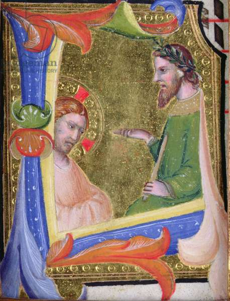 Christ before Pilate, in the historiated initial 'L', c.1403-05 (vellum and gold)