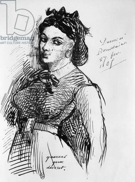 Jeanne Duval, 1865 (pen & ink on paper) (b/w photo)