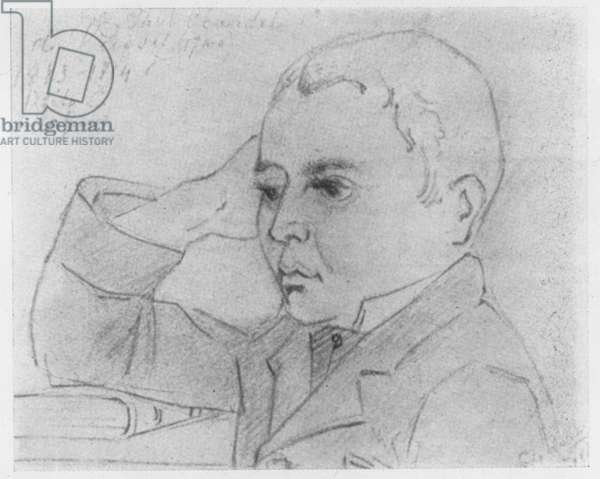 Sketch of Paul Claudel at Lycée Louis-le-Grand in 1884 (litho)