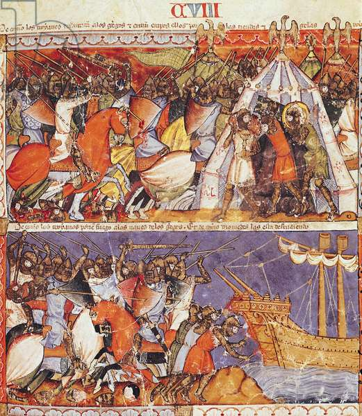 Fol.108r The Trojans Invading the Greek Camp and Setting Fire to the Greek Ships, from the Codex Benito de Santa Mora (vellum)