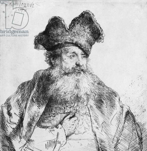 Portrait of an old man (etching) (b/w photo)
