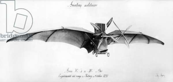 Avion III, 'The Bat', designed by Clement Ader (1841-1925) at the Satory military camp, October 1897 (engraving) (b/w photo)