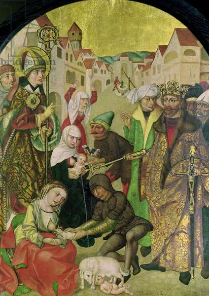 St. Stanislas (1030-79) watching the punishment of unfaithful wives as commanded by King Boleslas II (1039-81) panel from the Altarpiece of St. Stanislas (oil on panel)