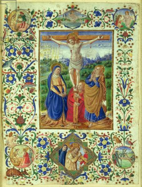 The Crucifixion surrounded by six medallions depicting six episodes from the Passion of Christ (vellum)