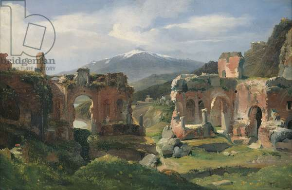 Ruins of the Theatre at Taormina (oil on canvas)