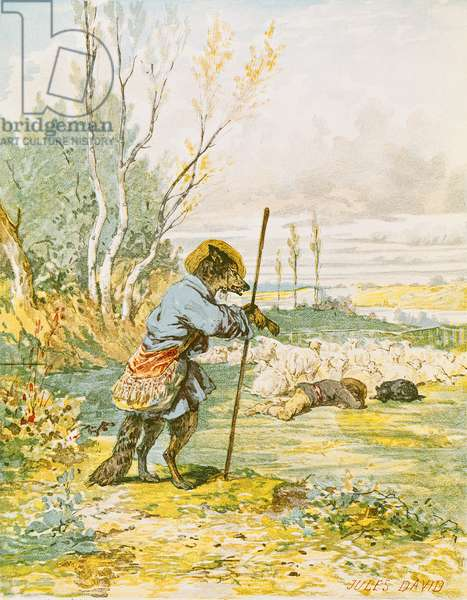 The Wolf as a Shepherd, from the 'Fables' by Jean de La Fontaine (1621-95) (colour litho)