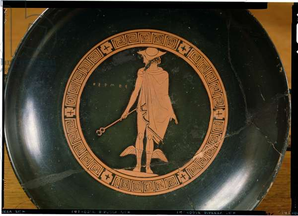 Greek red-figure cup, depicting the god Hermes (pottery)
