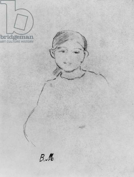 Portrait of a young girl, 1887 (black lead on paper)