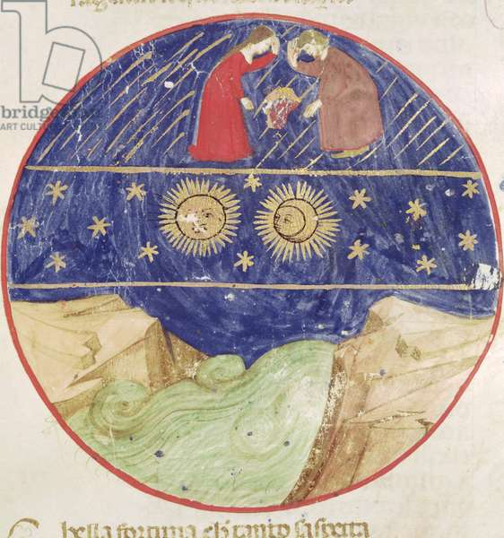 Dante and Beatrice contemplating the sign of Gemini, the planets and the earth, from 'Divina Commedia' by Dante Alighieri (1265-1321) (vellum)