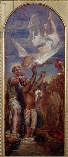 Study for St. Philip Baptising the Eunuch of the Queen of Ethiopia (oil on canvas)