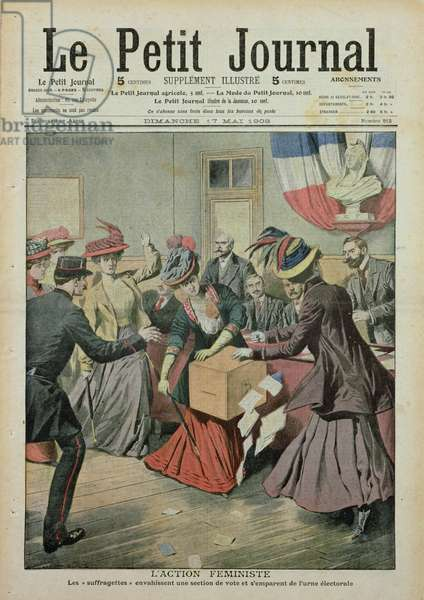 Suffragette demonstration at a polling station, front cover of 'Le Petit Journal', 17th May 1908 (colour litho)