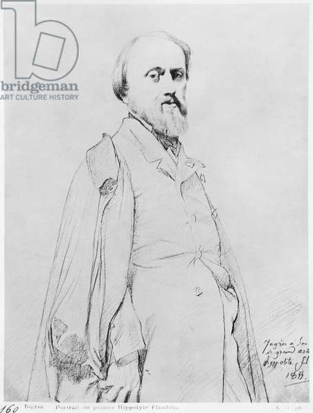 Portrait of the painter Hippolyte Flandrin, 1844 (graphite on paper) (b/w photo)