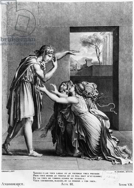Andromache at the feet of Pyrrhus, illustration from Act III Scene 7 of 'Andromaque' by Jean Racine (1639-99) engraved by Henri Marais (b. c.1768) (engraving) (b/w photo)
