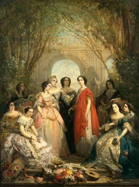The Women of the Comedie Francaise in their Costumes, 1855 (oil on canvas)