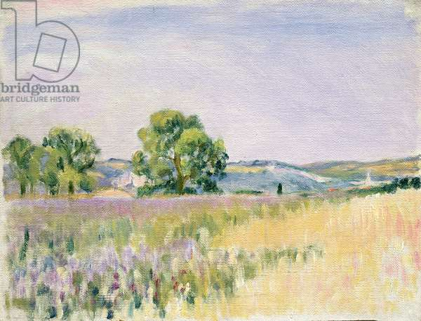 View of Vexin (oil on canvas mounted on card)