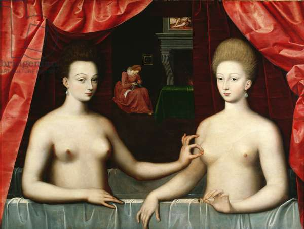Gabrielle d'Estrees (1573-99) and her sister, the Duchess of Villars, late 16th century (oil on panel)