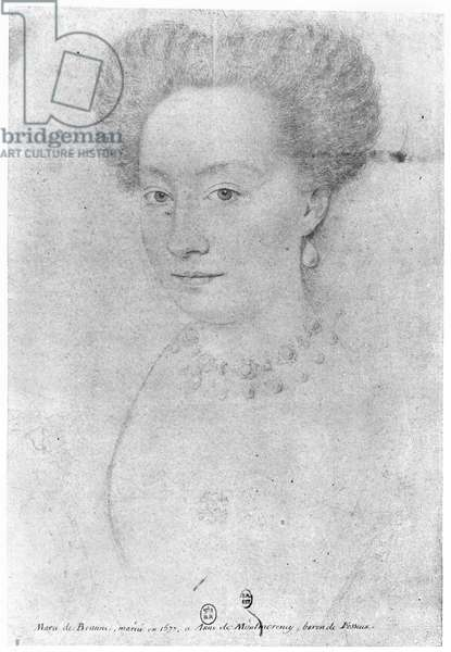 Francoise de Montmorency (b.1562) called 'La belle Fosseuse' (pencil on paper) (b/w photo)