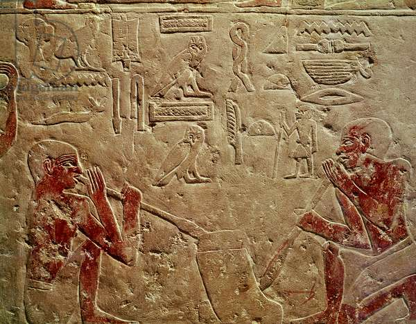 Relief depicting glass blowers, from the Mastaba of Kaemrehu, Saqqara, Old Kingdom, c.2325 BC (painted limestone)