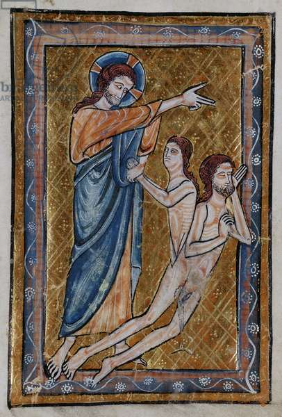 The Creation of Adam and Eve from a book of Bible Pictures, c.1250 (vellum)