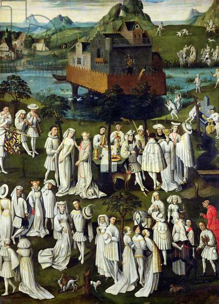 The Garden of Love at the Court of Philip the Good, in the Gardens of the Chateau de Hesdin in 1431 (oil on panel)