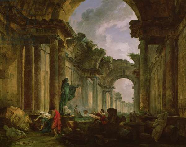 Imaginary View of the Grand Gallery of the Louvre in Ruins, 1796 (oil on canvas)