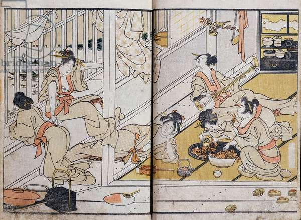 Women eating, from a Manga (colour woodblock print)