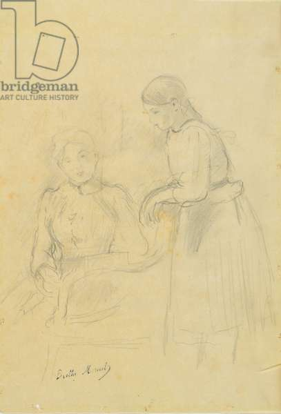 Portrait of Alice Gamby and Julie Manet, 1889 (pencil on paper)