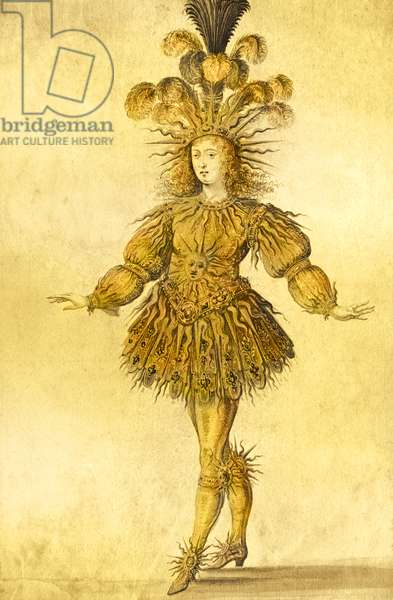 King Louis XIV of France in the costume of the Sun King in the ballet 'La Nuit', 1653 (later colouration)