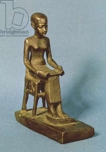 Seated statue of Imhotep (fl.c.2980 BC) holding an open papyrus scroll, Late Period (bronze)