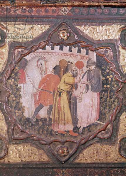 Detail of a cassone showing the story of Saladin and Torello of Istria, by Giovanni Boccaccio (tempera on panel) (see also 444281-82)