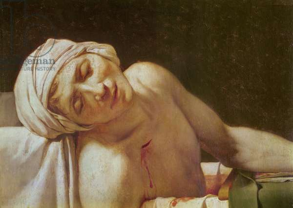 The Death of Marat (detail of the Face), 1793 (oil on canvas)