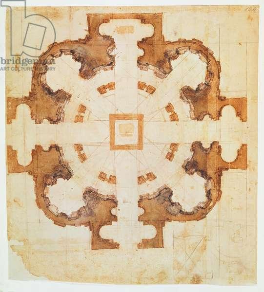 Plan for the church of San Giovanni dei Fiorentini, Rome, 16th century, (ink on paper)