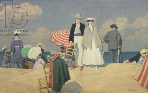 The Beach at Cabourg, 1910 (oil on canvas)