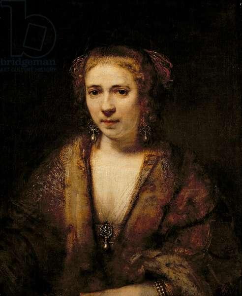 Portrait of Hendrikje Stoffels (1625-63) (oil on canvas)