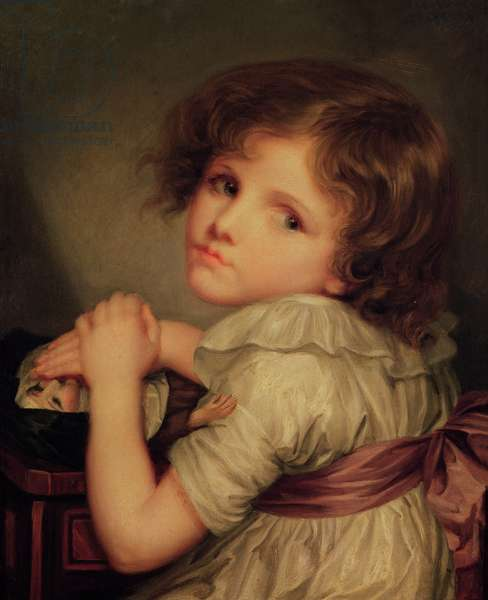 Child with a Doll (oil on canvas)
