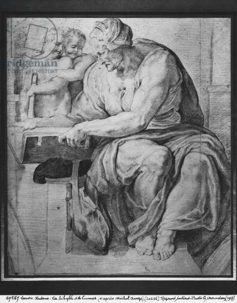 The Cumaean Sibyl, after Michelangelo Buonarroti (1475-1564) (pierre noire & red chalk on paper)