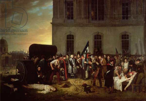 Burial of the Victims of the July Revolution in Front of the Colonnade of the Louvre, 30th July 1830 (oil on canvas)
