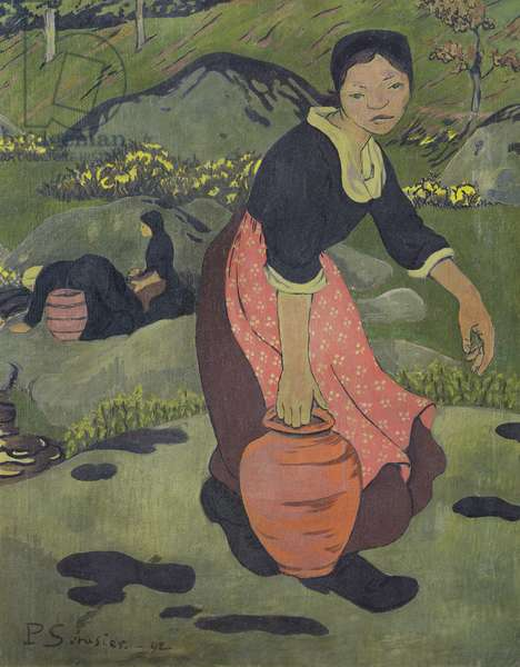 Young Breton girl with a jug, 1892 (oil on canvas)