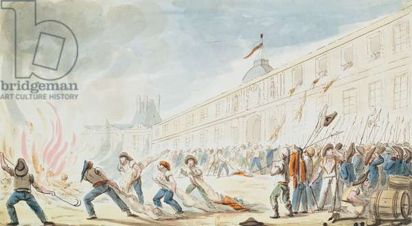 The Taking of the Tuileries, 10th August 1792 (colour engraving)