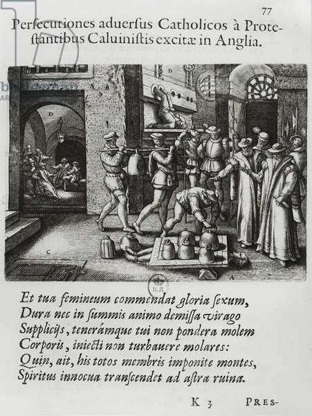The Persecution of English Catholics by Calvinist Protestants (engraving) (b/w photo)