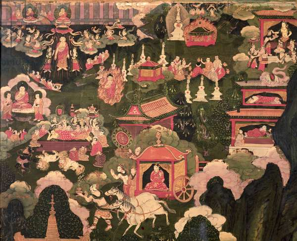 Parinirvana and the Death of Buddha, from 'The Life of Buddha Sakyamuni' (oil on canvas)