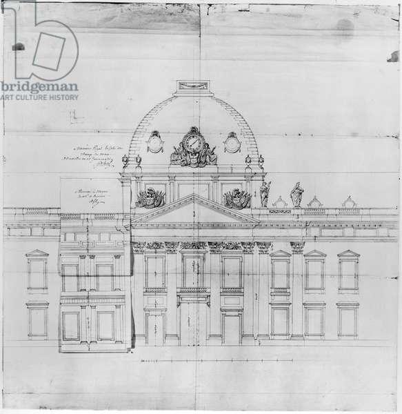 Design for the Ecole Militaire in Paris, 1769 (pencil on paper)